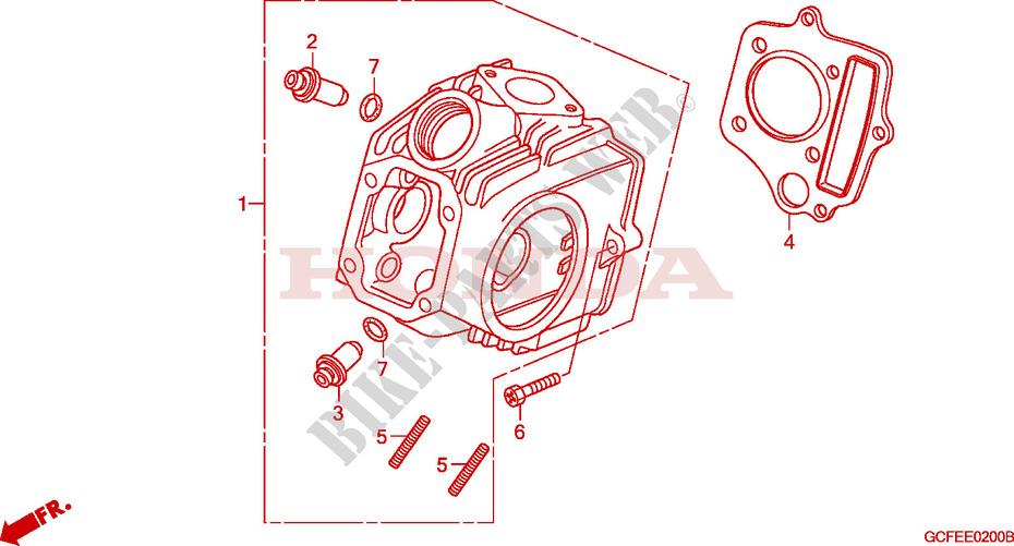 Cylinder Head For Honda Crf 70 2009   Honda Motorcycles  U0026 Atvs Genuine Spare Parts Catalog