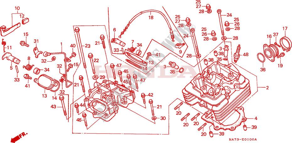 honda atv 350 fourtrax 1987 trx350dh engine cylinder head