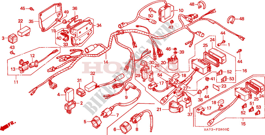 WIRE HARNESS for Honda FOURTRAX 350 1992 # HONDA Motorcycles ... on