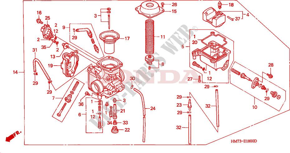Carburetor For Honda Trx 400 Fourtrax Foreman 4x4 1995   Honda Motorcycles  U0026 Atvs Genuine Spare