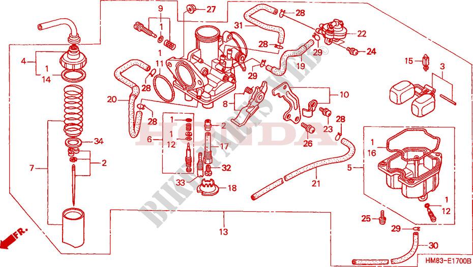Carburetor For Honda Trx Fourtrax Recon 250 2001   Honda