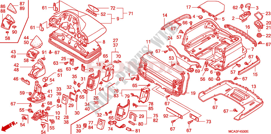 TRUNK BOX for Honda GL 1800 GOLD WING ABS 2001