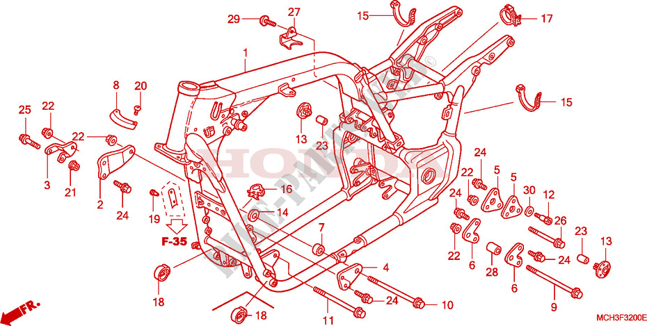 honda moto 1800 vtx 2002 vtx1800c2_a frame frame body