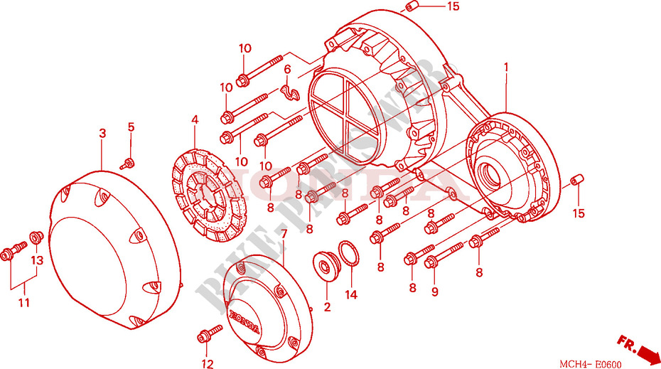 Right Crankcase Cover For Honda Vtx 1800 C 2004   Honda