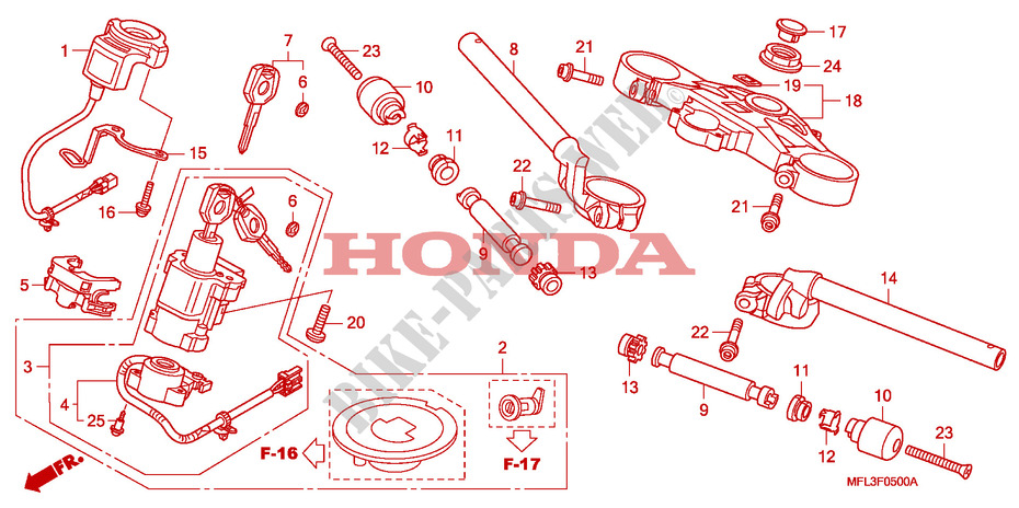 HANDLE PIPE/TOP BRIDGE for Honda CBR 1000 RR FIREBLADE 2008