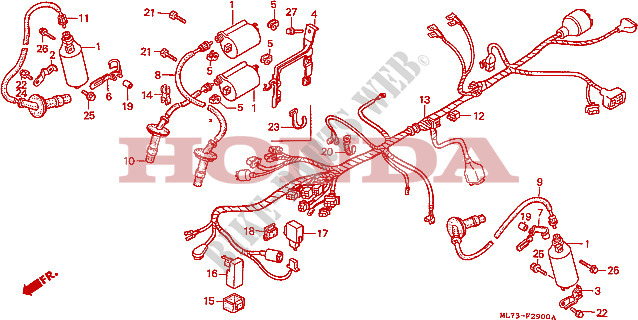Wire Harness   Ignition Coil For Honda Vfr 750 1988   Honda
