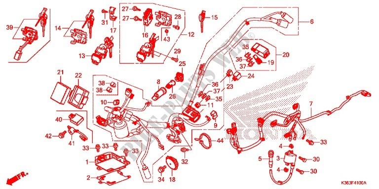WIRE HARNESS BATTERY Frame WW150F 2015 PCX 150 SCOOTER Honda ...
