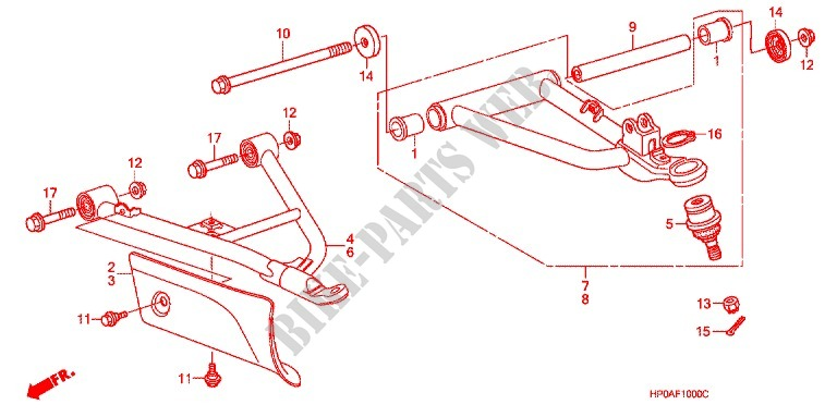FRONT SUSPENSION ARM for Honda FOURTRAX 500 FOREMAN 4X4 Electric Shift 2007