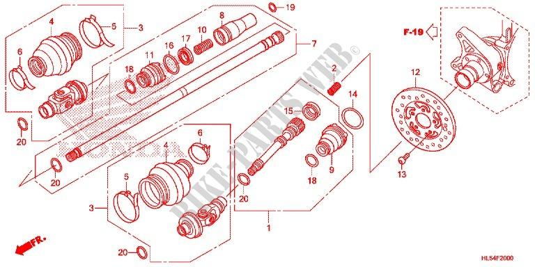 REAR FORK/PROPELLER SHAFT (2) for Honda PIONEER 500 M2 2015 # HONDA