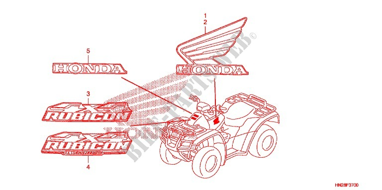 STICKERS (Z50JIIIL/JM/JN FI/JT) for Honda FOURTRAX 500 FOREMAN RUBICON GPS EPS 2010